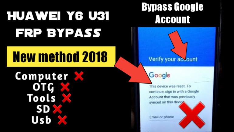 FRP bypass Google Accounts Huawei y6 u31 frp
